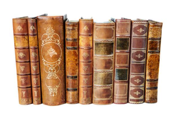 Antique books on white background stock photo