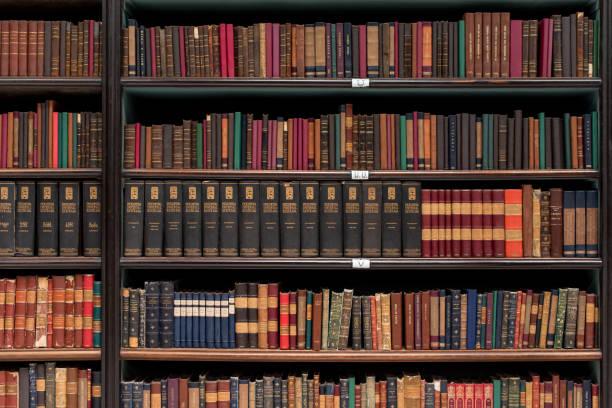 Antique Books on Wooden Shelves stock photo