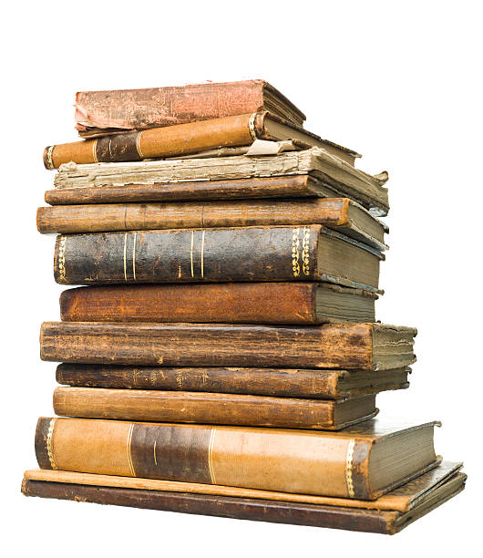 Antique Books Stack of antique books isolated on white background antiquities stock pictures, royalty-free photos & images