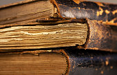 アンティーク書籍のページを表示し、老化
