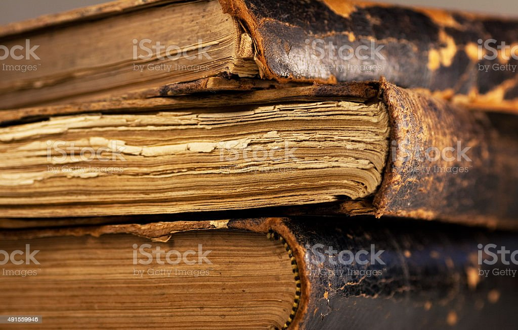 Antique books showing aging of the pages stock photo