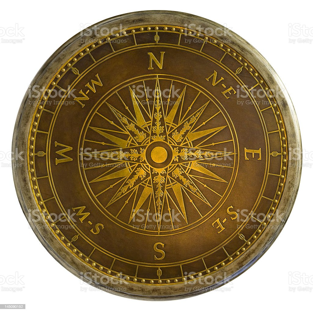 Antique Brass Compass royalty-free stock photo