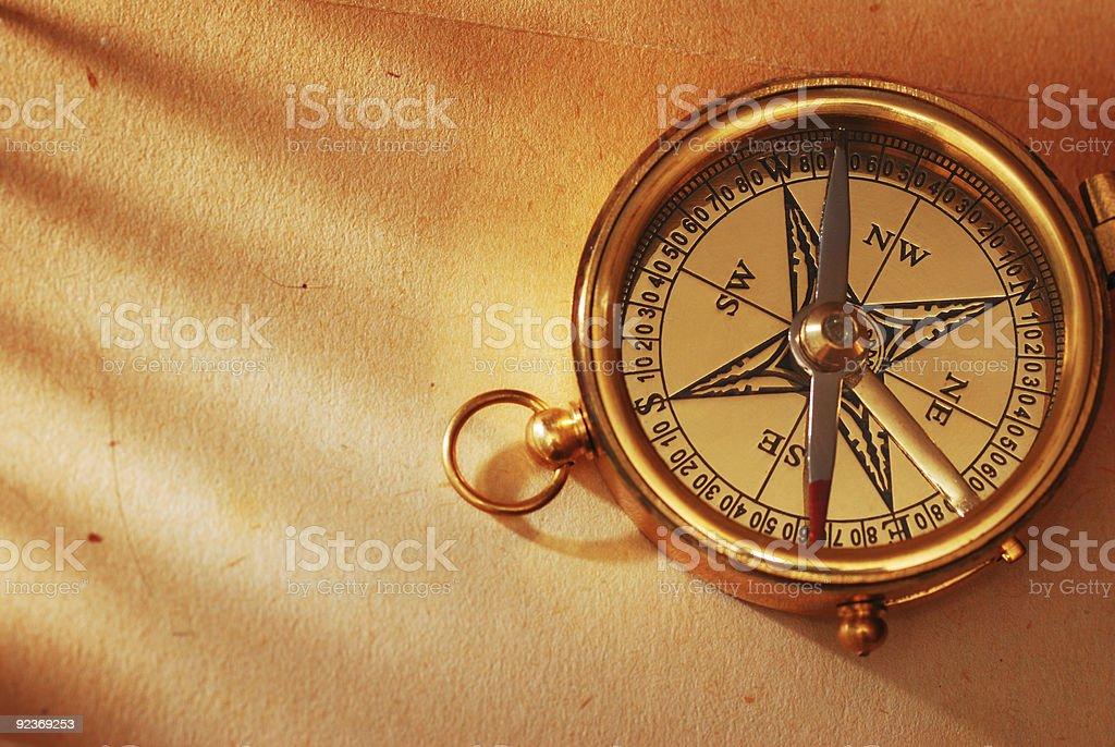 Antique brass compass stock photo