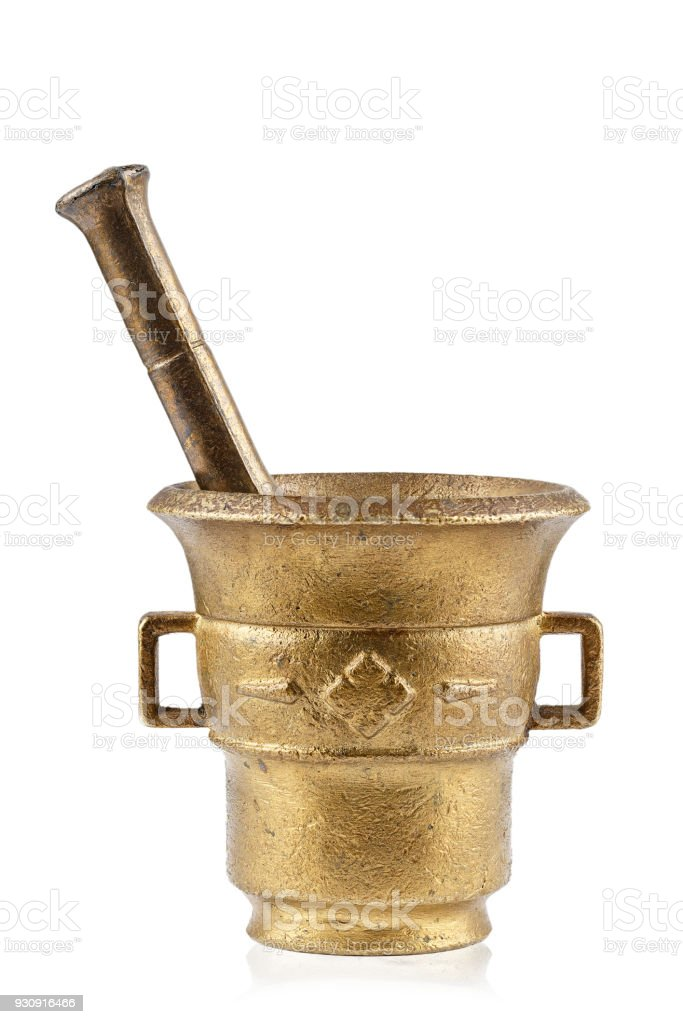 antique brass mortar for grinding spices and herbs stock photo