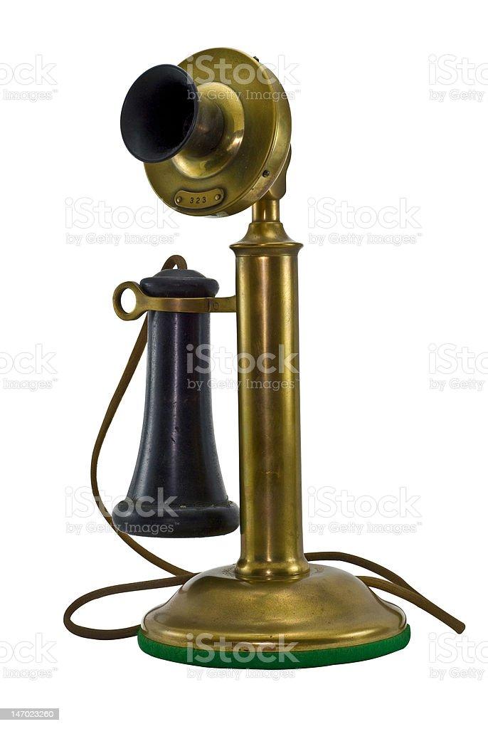 Antique Brass Phone stock photo