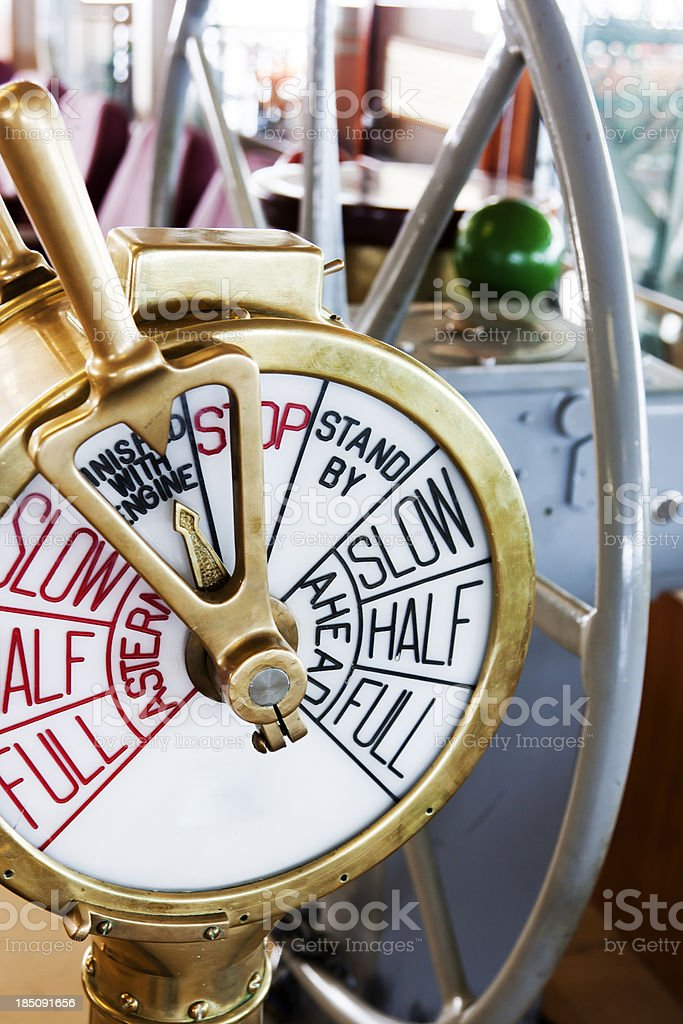 Antique Brass Ship's Bridge Telegraph and Wheel stock photo