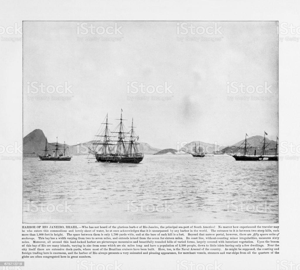 古色古香的巴西照片: 里約熱內盧港口,巴西 1893 免版稅 stock photo