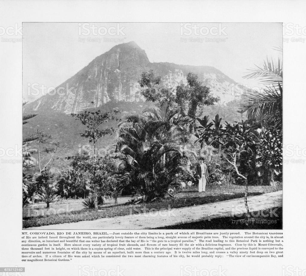 Antique Brazil Photograph: Mt. Corcovado, Rio De Janeiro, Brazil, 1893 stock photo