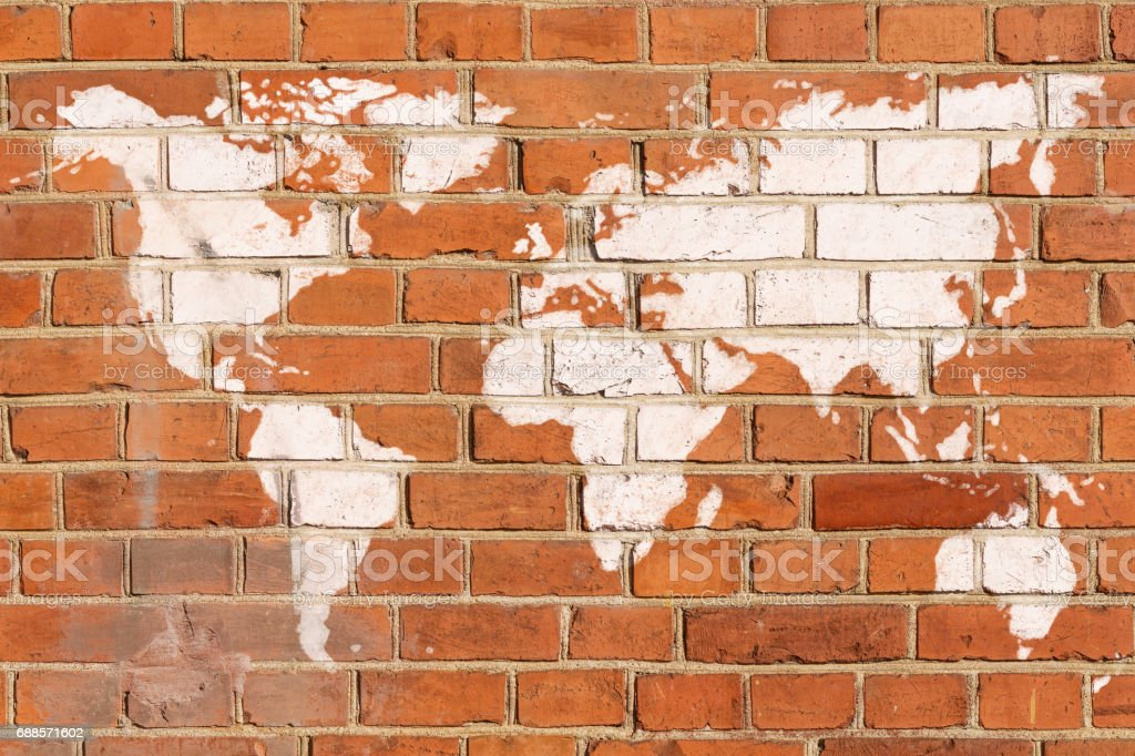 Antique brick wall with world map graffiti stock photo more antique brick wall with world map graffiti royalty free stock photo gumiabroncs Gallery