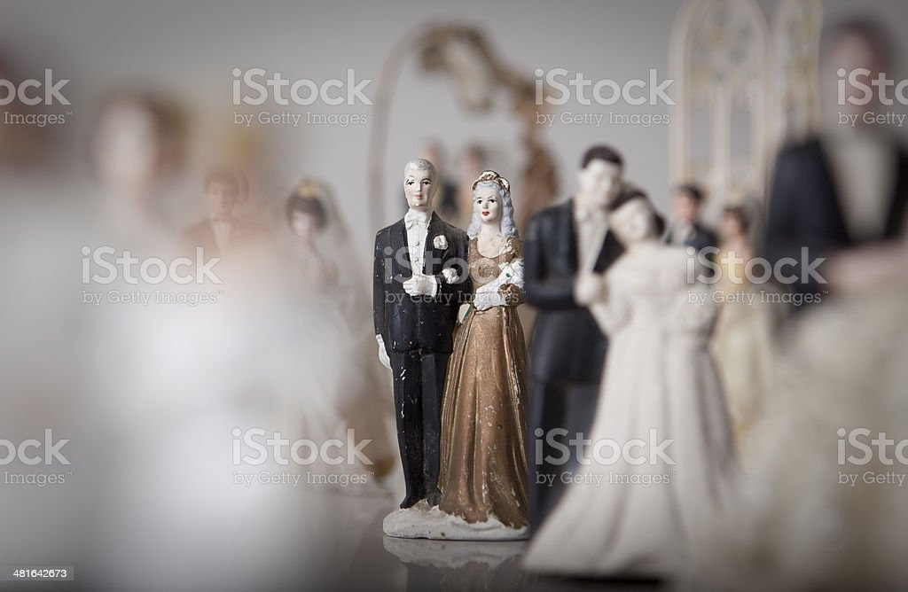 Antique bride and groom cake toppers. royalty-free stock photo