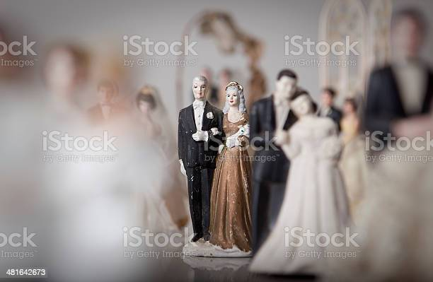 Antique Bride And Groom Cake Toppers Stock Photo - Download Image Now