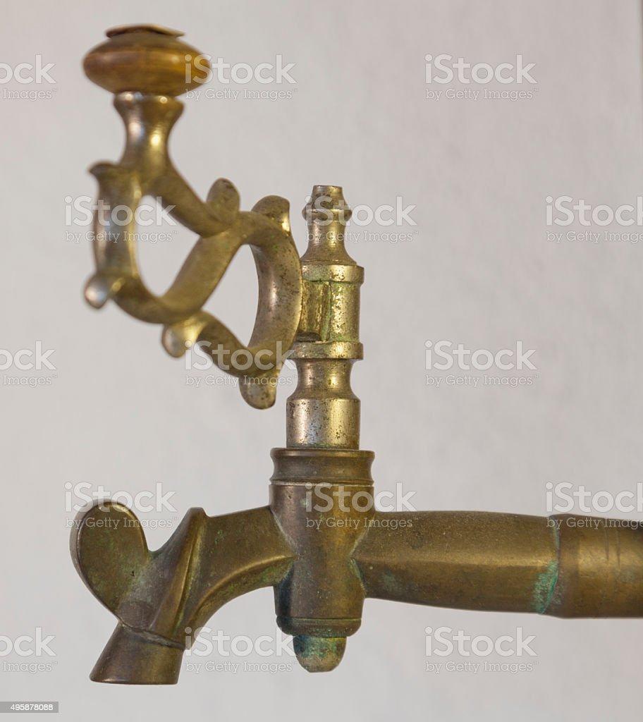 Antique bronze faucet of samovar. stock photo
