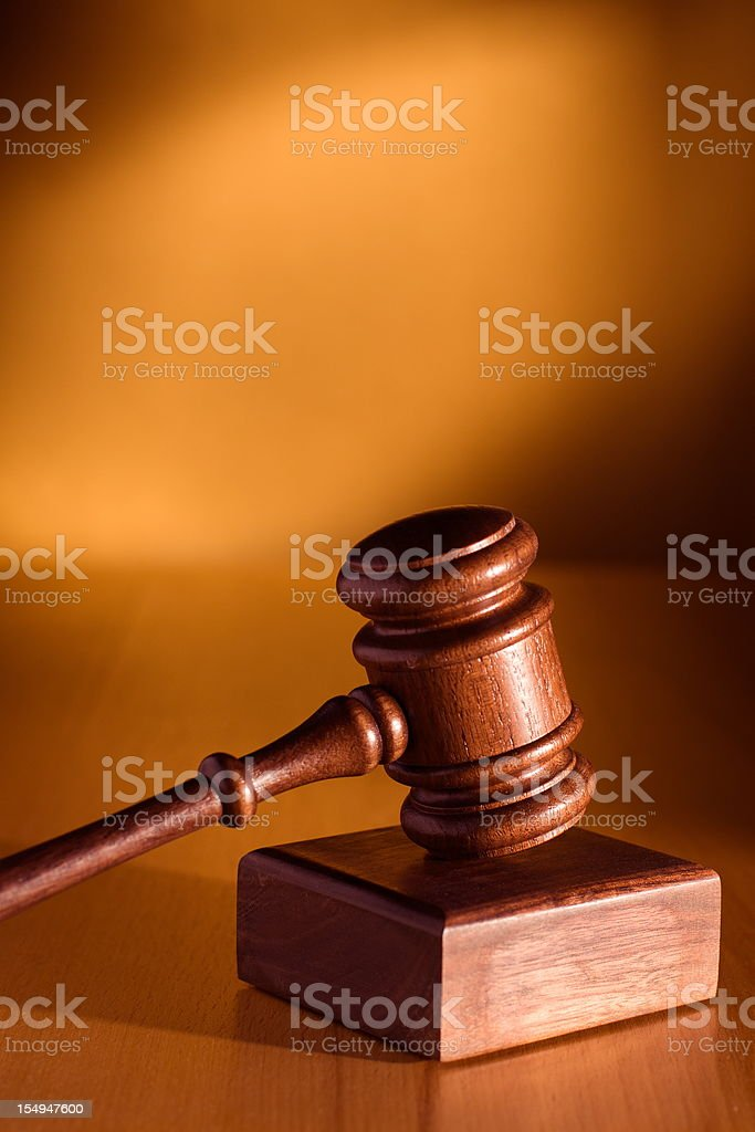 Antique brown gavel and sound block stock photo