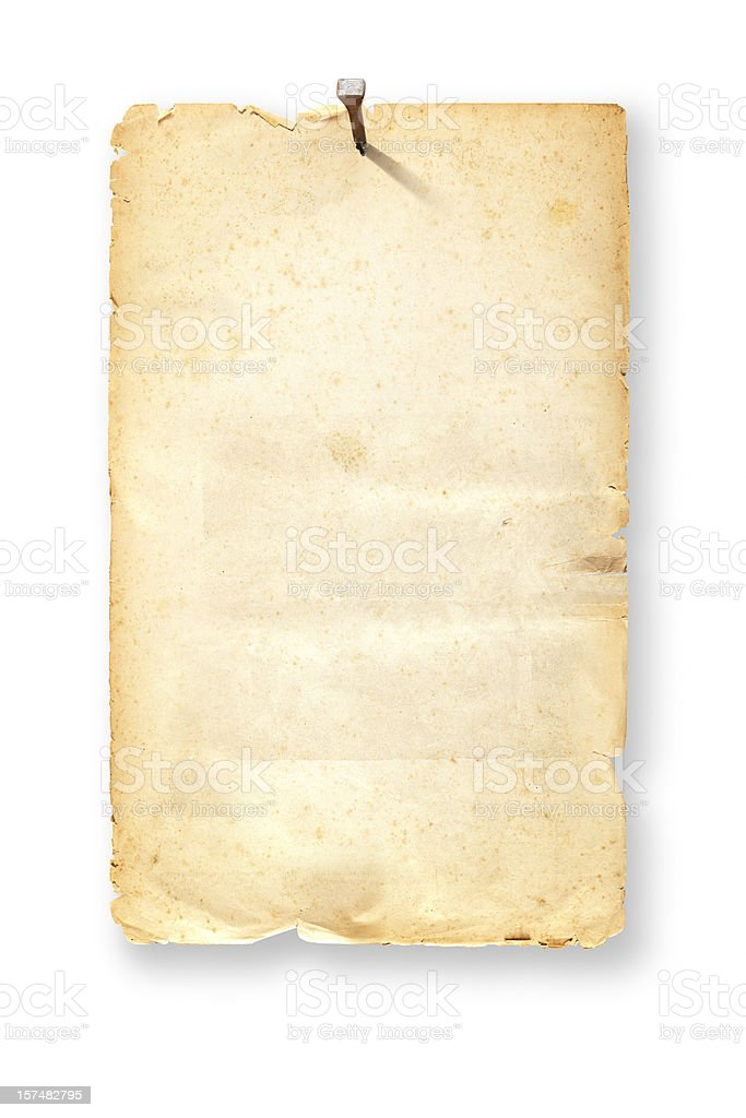 Antique brown wanted poster fixed with nail on white background stock photo