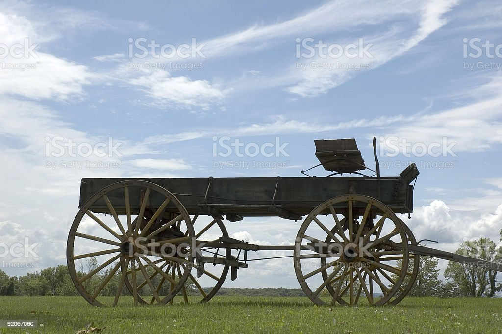 Antique buckboard sky background stock photo