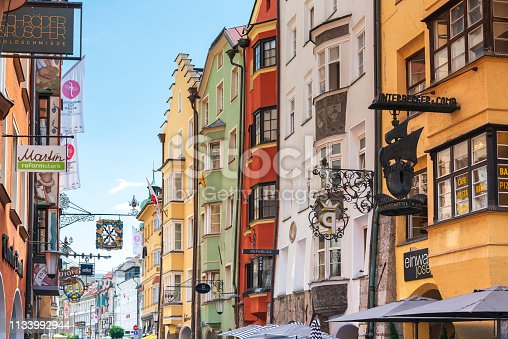 INNSBRUCK, AUSTRIA - June 27, 2018: Antique building view in Old Town Innsbruck, Austria
