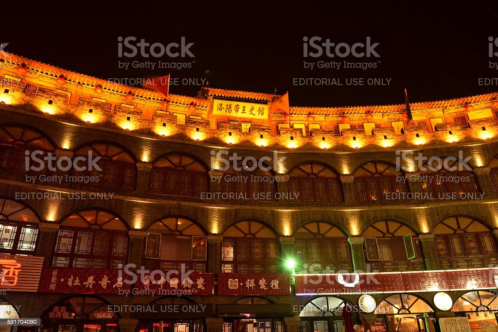 Antique buildings at night 04 stock photo