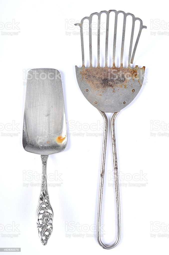Antique cake lifter and spatula stock photo