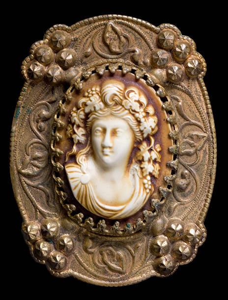 Antique cameo brooch (macro) stock photo