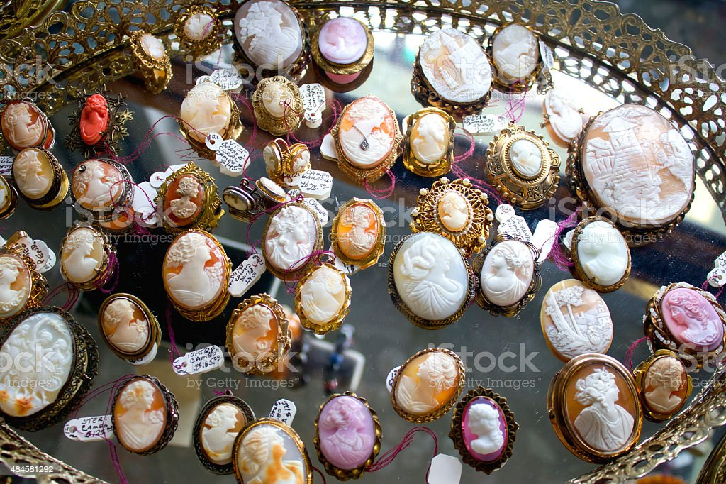 Antique Cameos for Sale stock photo