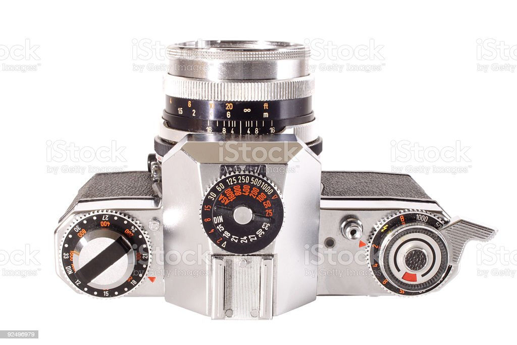 Antique camera - Top view royalty-free stock photo