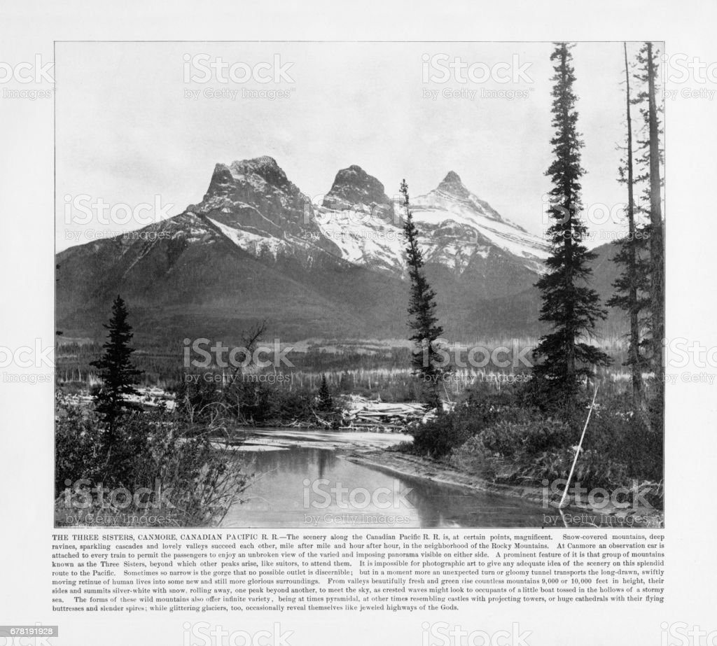 Antique Canadian Photograph: The Three Sisters, Canmore, Canadian Pacific Railroad, Canada, 1893 stock photo