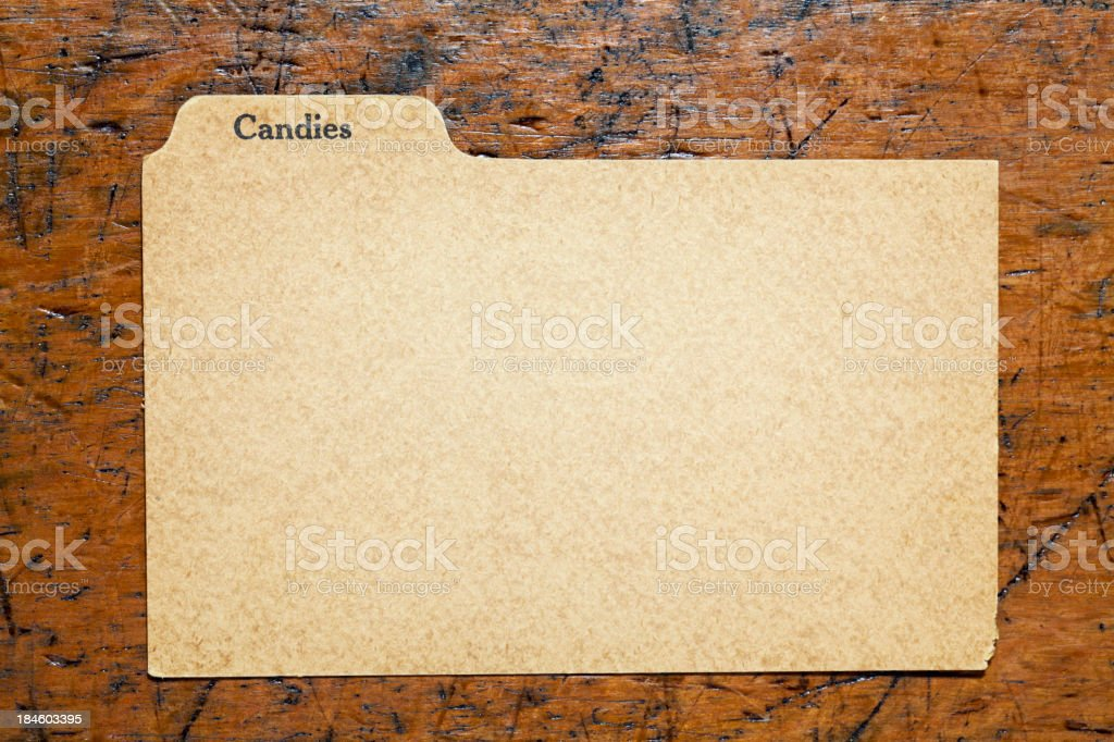 Antique Candy Blank Index Recipe, Old Fashioned Paper Card Background royalty-free stock photo