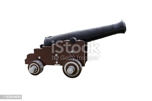 image of antique cannon isolated on white background
