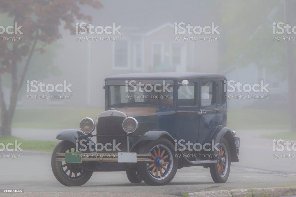 Antique Car In Fog stock photo