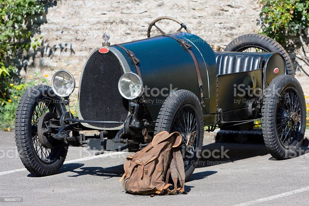 Antique car ready to go stock photo