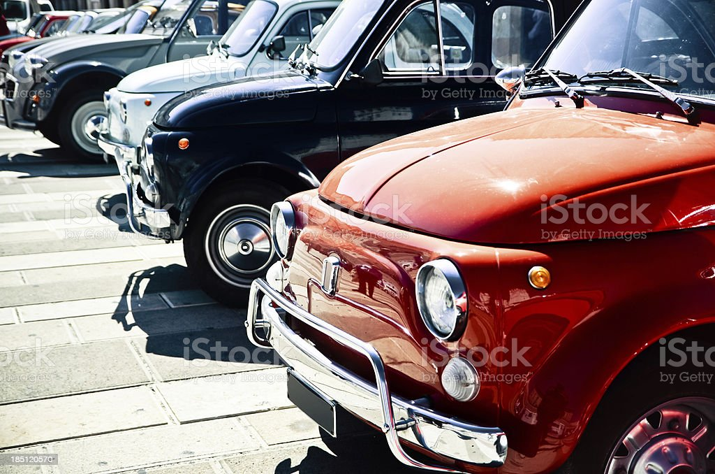 Antique cars parked stock photo