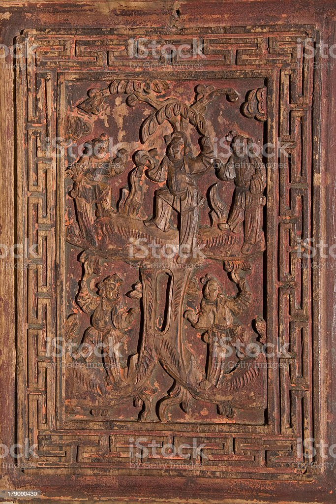 Antique Carved Chinese Panel stock photo