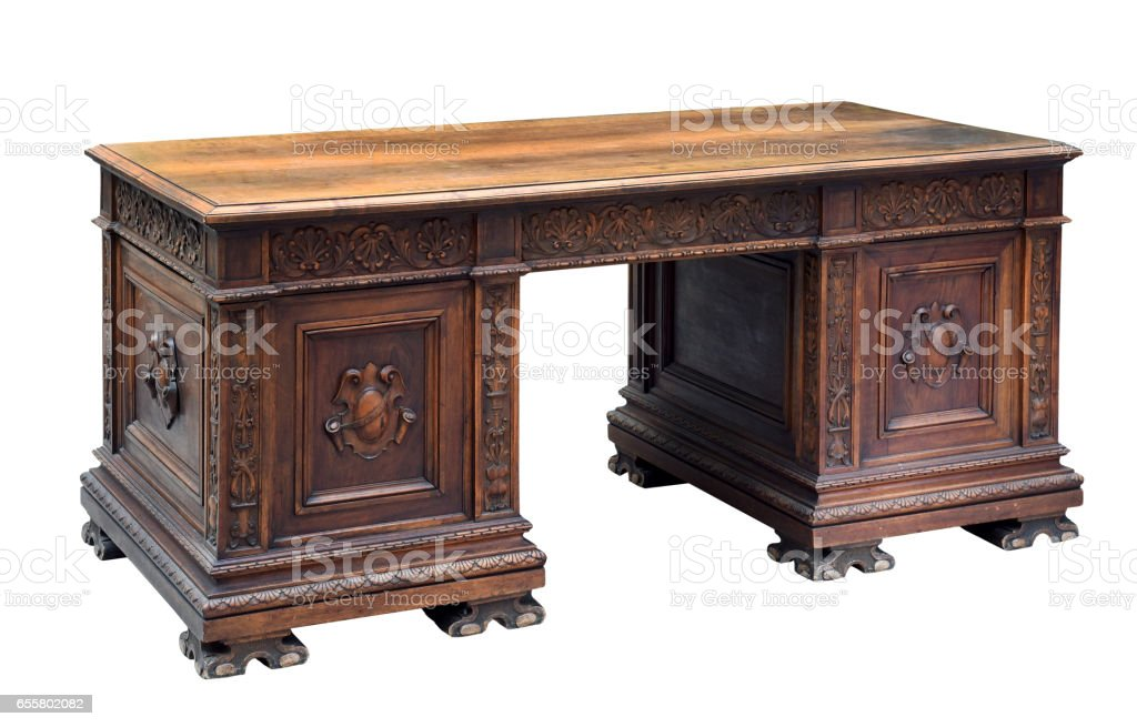 Antique Carved Mahogany Writing Desk Stock Photo Download Image Now Istock