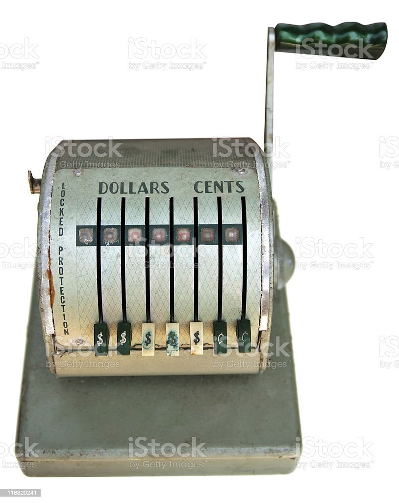 Antique cash register front royalty-free stock photo