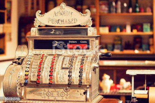 Antique cash register in an old general store.