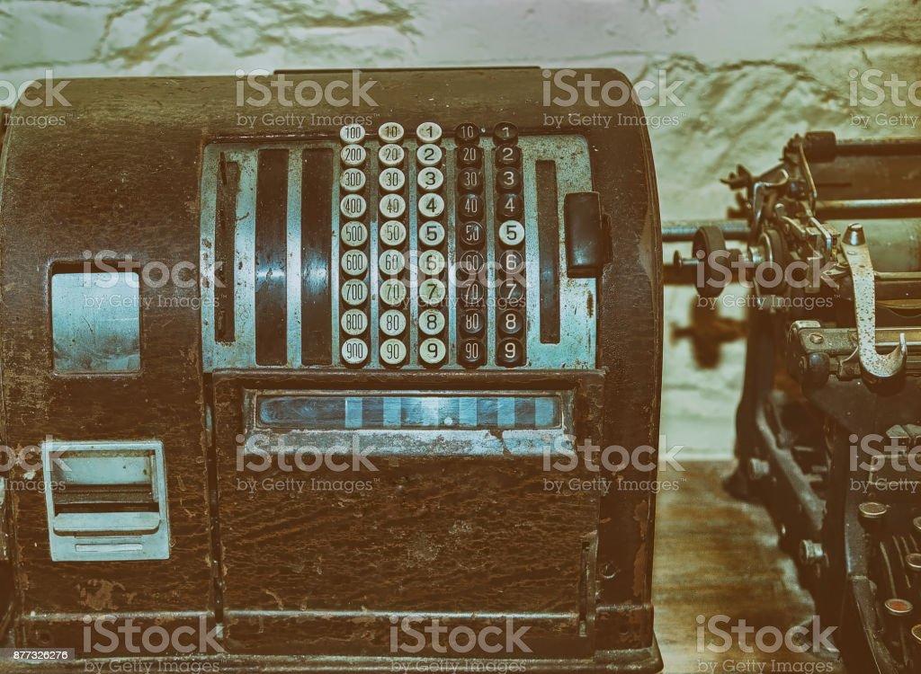 Antique Cash Register. stock photo