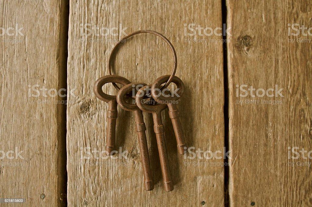 Antique cast iron keys stock photo