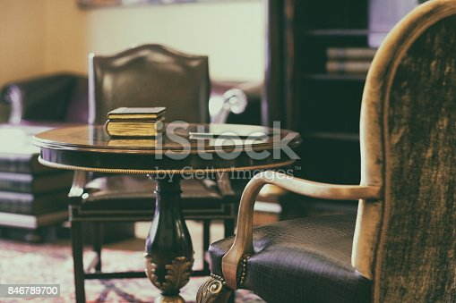 istock Antique chair on the carpet 846789700