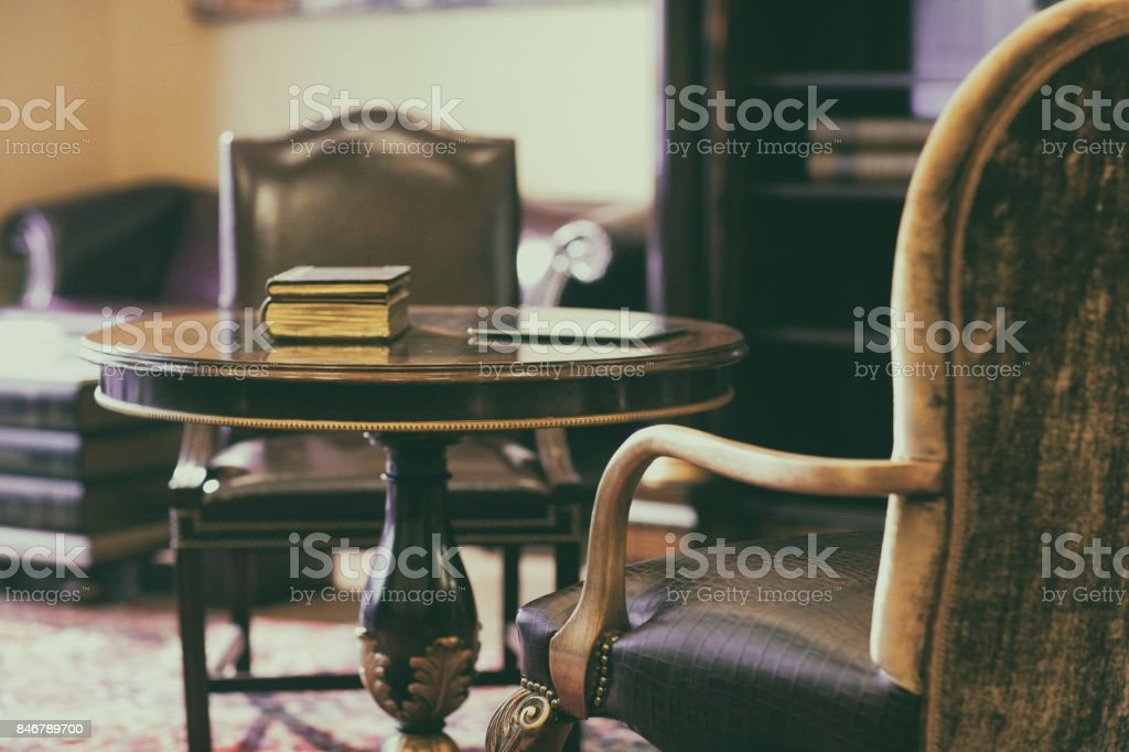 Antique chair on the carpet stock photo