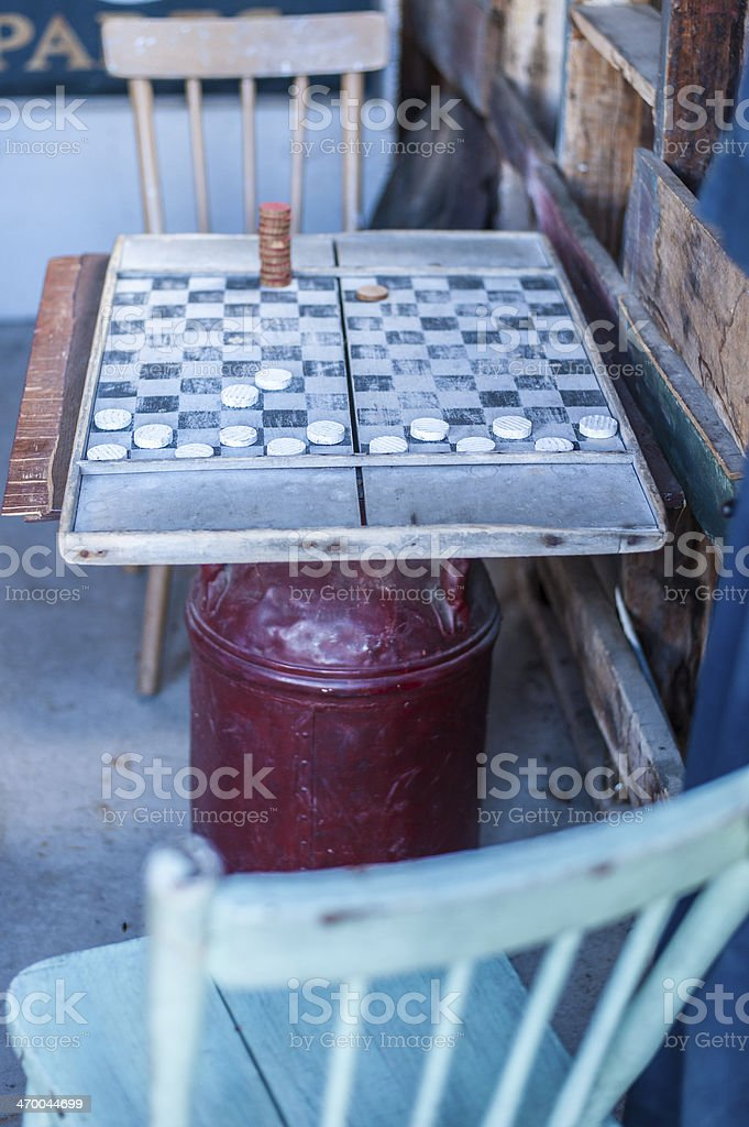 Antique checkers game in progress stock photo