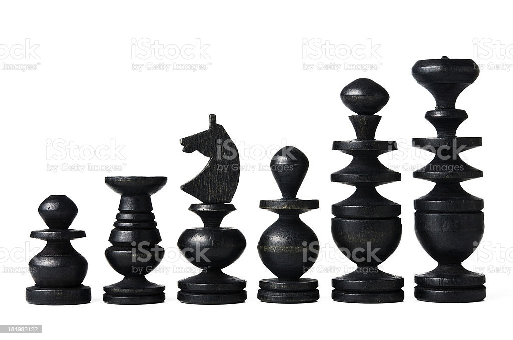 Antique chess pieces - black royalty-free stock photo
