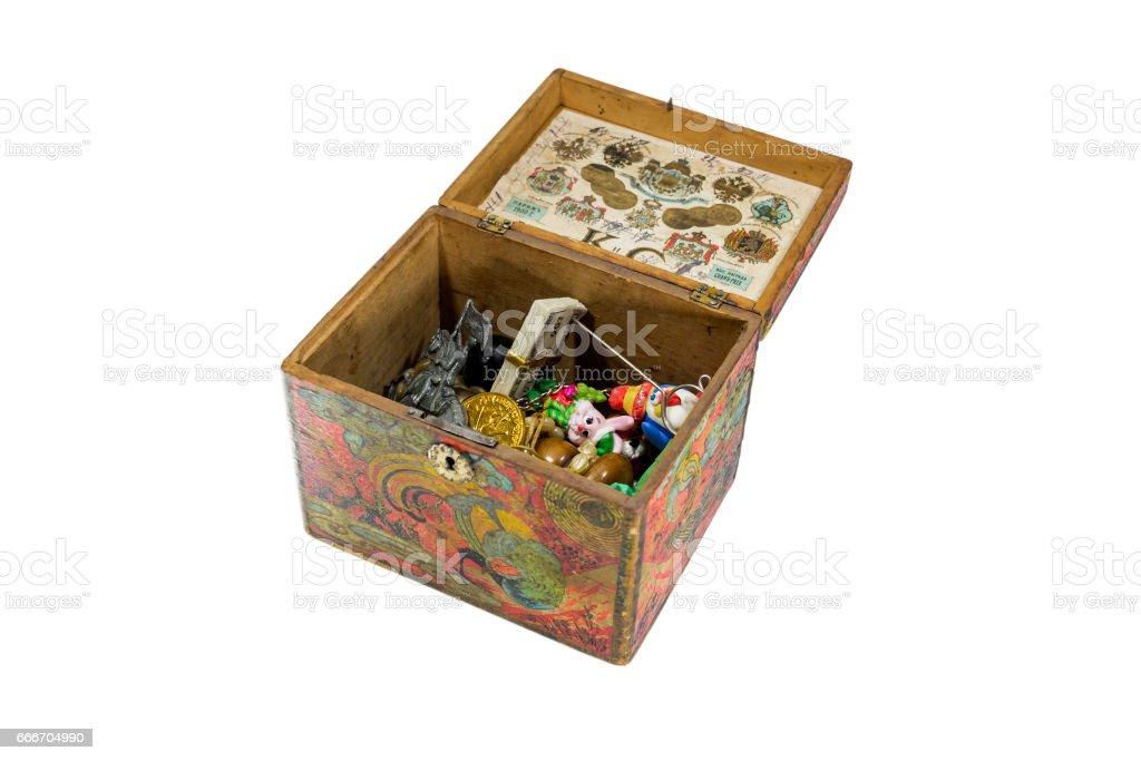 Antique children's treasure chest stock photo