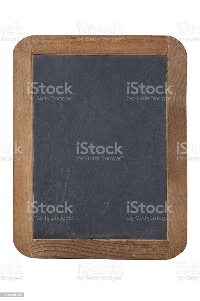 Antique child's slate chalkboard primer isolated on white royalty-free stock photo