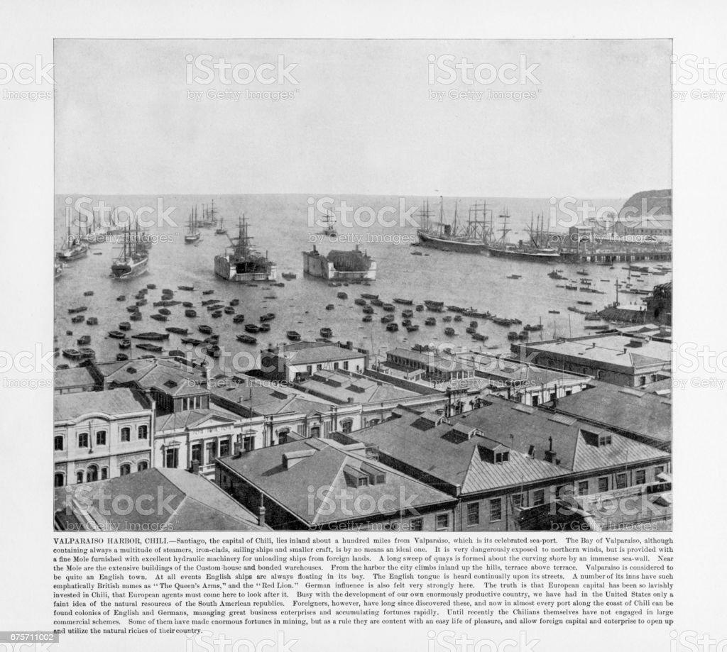 古色古香的智利照片: 瓦爾帕萊索港,智利 1893 免版稅 stock photo