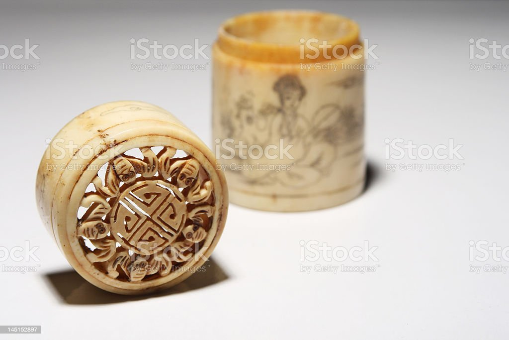 antique chinese bone case stock photo