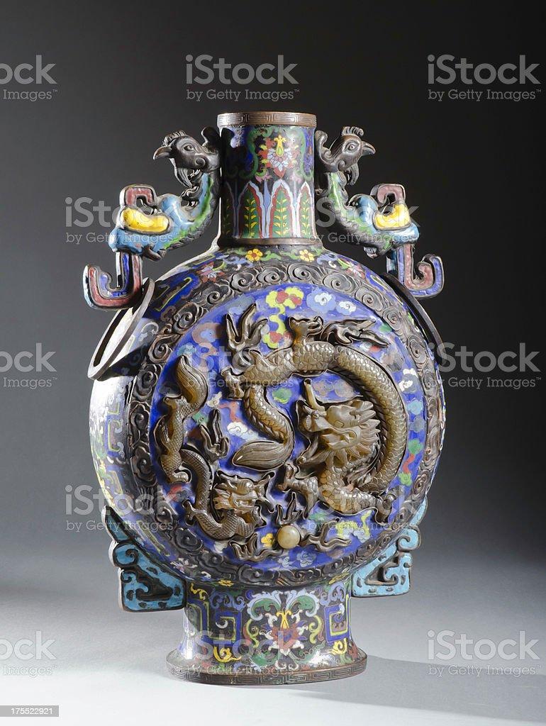 Antique Chinese Cloisonne Pilgrim's Flask stock photo