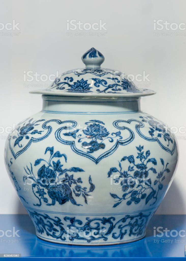 Antique Chinese Ming blue and white wine jar on display stock photo