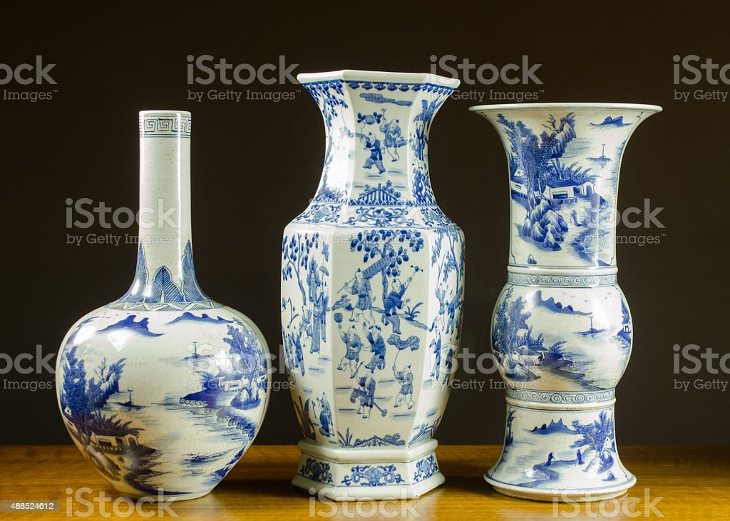Antique Chinese Porcelain Vases stock photo