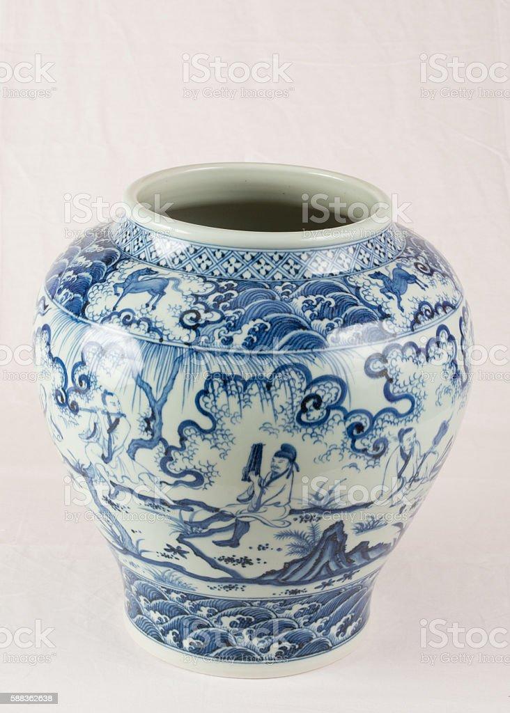 Antique Chinese under glazed blue and white wine jar stock photo
