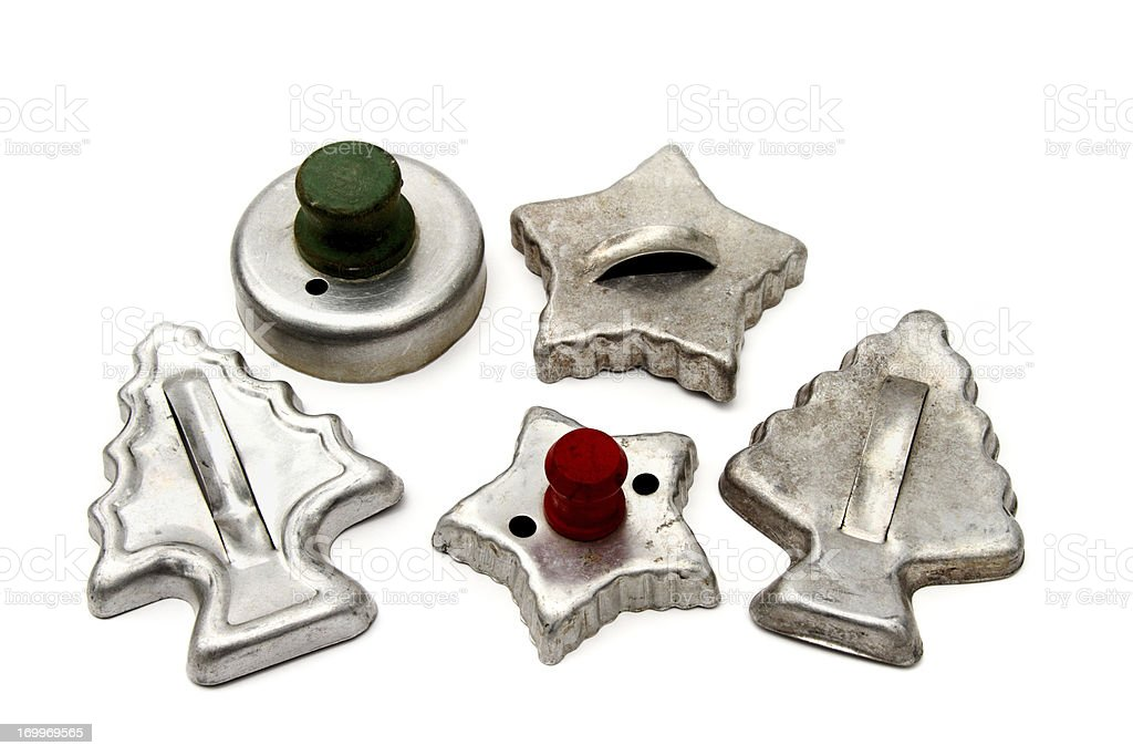 Antique Christmas cookie cutters royalty-free stock photo